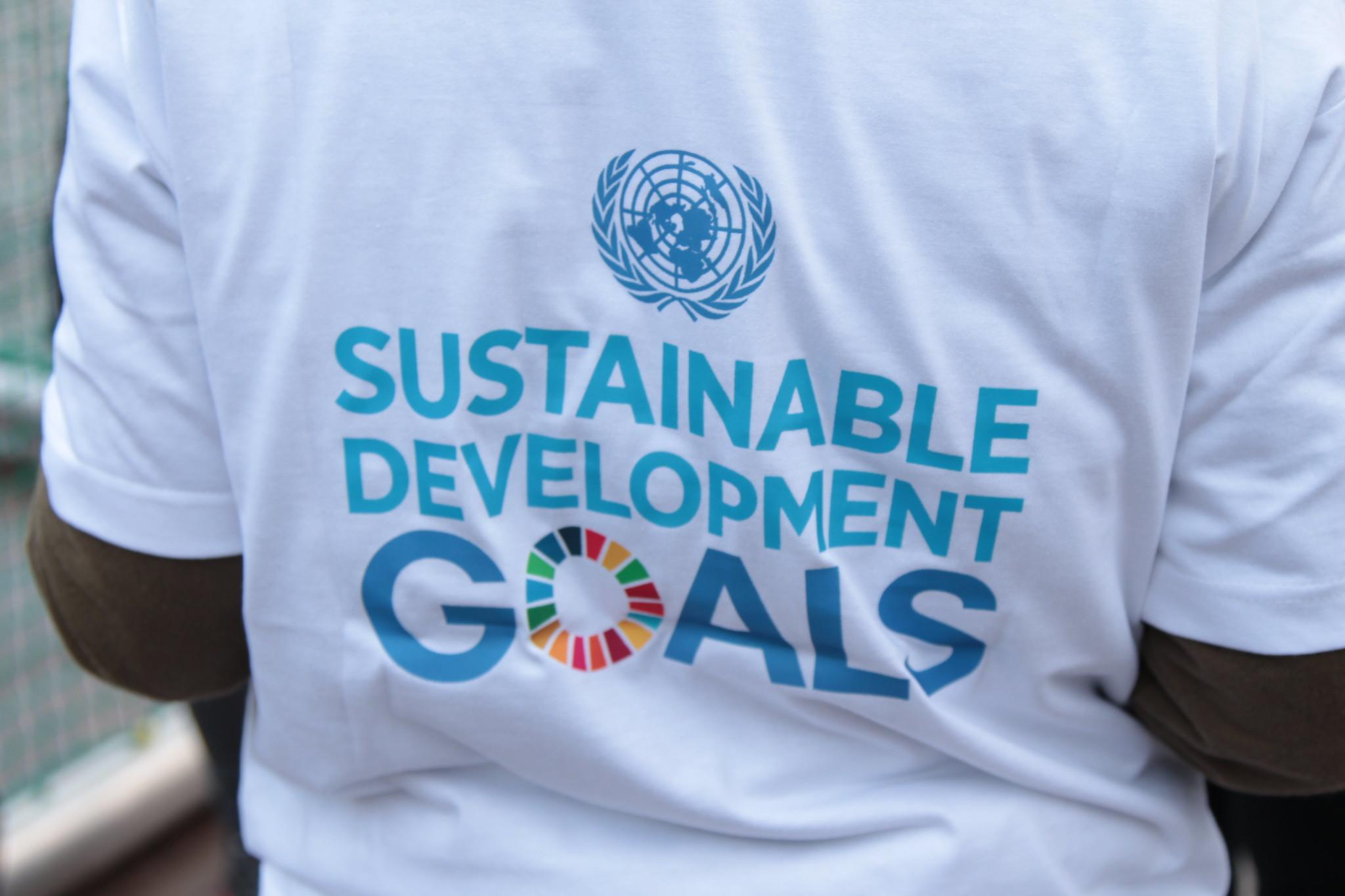 Takaapäin kuvattu henkilön selkä, jonka t-paidassa lukee sustainable development goals.