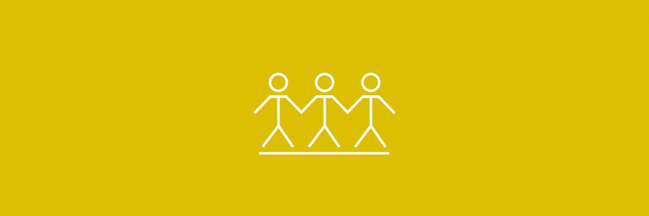 Ihmisoikeudet kolme tikkuhenkilöä -ikoni sinapinkeltaisella taustalla.