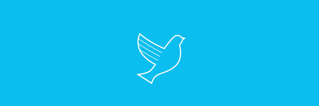 Rauhankasvatus kyyhkynen-ikoni vaaleansinisellä taustalla.